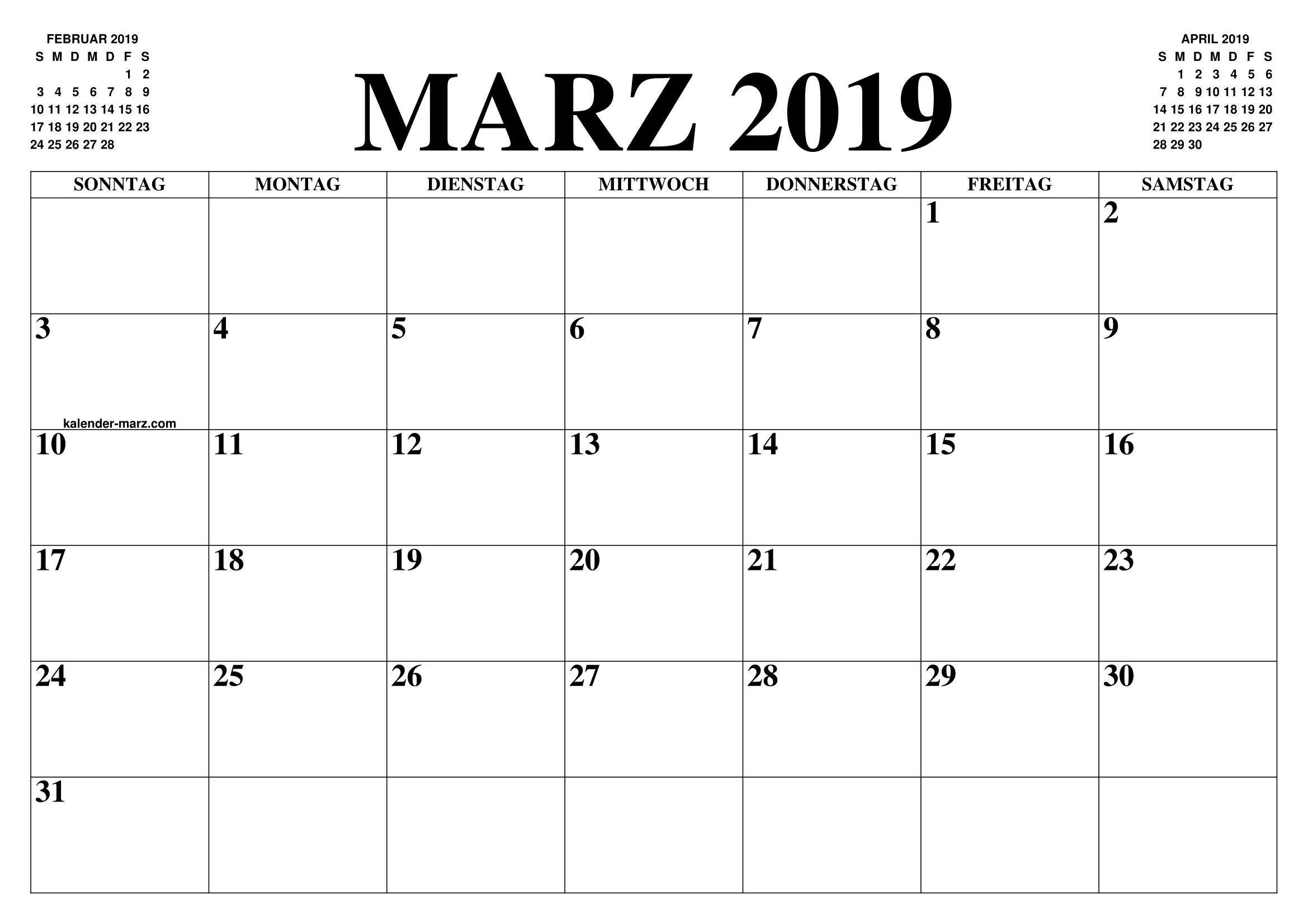 kalender marz 2019 marz 2019 kalender zum ausdrucken. Black Bedroom Furniture Sets. Home Design Ideas